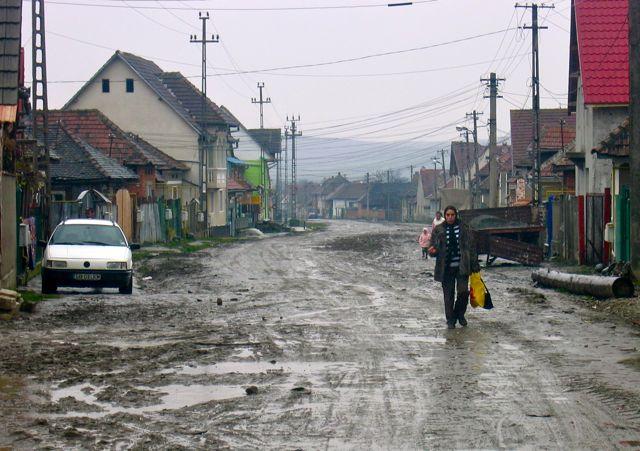 Romasiedlung in Avrig, Rumänien